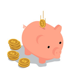 Piggy bank isometric with coins and falling coin vector