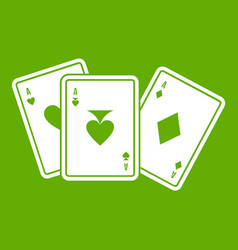 playing cards icon green vector image
