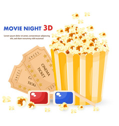 Popcorn 3d glasses and movie tickets vector