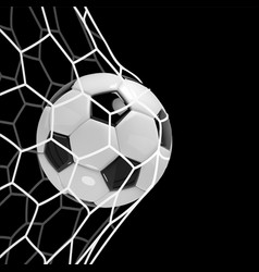 Realistic soccer ball or football ball in net on vector