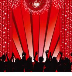 Red disco stage and crowd vector