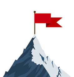 red flag on mountain peak vector image