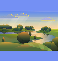 River with green meadows hills landscape vector