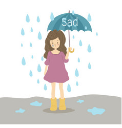 Sad young girl in the rain with an umbrella vector