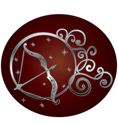 Sagittarius zodiac sign in circle frame vector