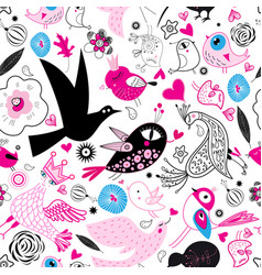 seamless multi-colored pattern enamored birds vector image