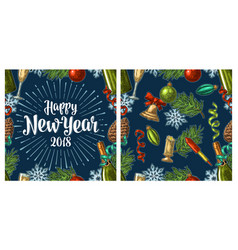 Seamless pattern with happy new year 2018 vector
