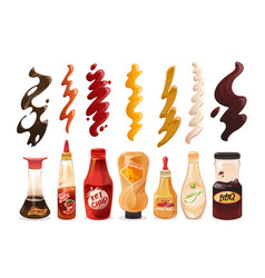Set different sauces in bottles and strokes vector