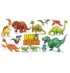 Set dinosaurs cartoon character isolated vector