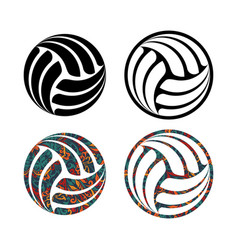 set four volleyball balls vector image