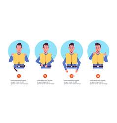 set guidance from steward flight attendant man vector image