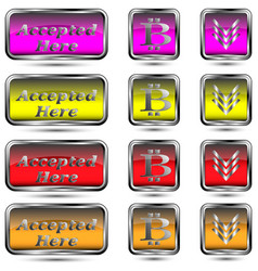 set of buttons with bit-coin symbol vector image
