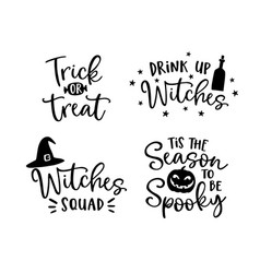 Set of handlettered halloween phrases spooky vector