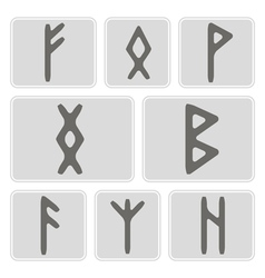 Set of monochrome icons with runes vector