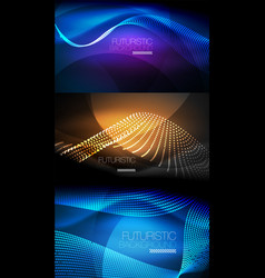 Set of neon glowing waves and lines shiny light vector