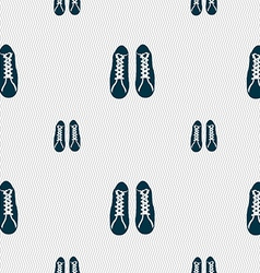shoes icon sign Seamless pattern with geometric vector image
