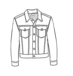 Sketch denim jacket vector