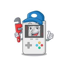 Smart plumber handheld game scroll on cartoon vector