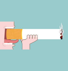 Smoker and large cigarettes open mouth smoking vector