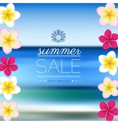 Summer Sale blurred sea background with flowers vector image