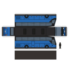 The paper model of a blue touristic bus vector