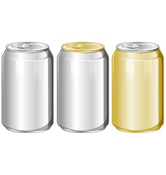Three aluminum cans without label vector image