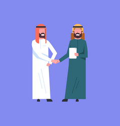 Two arab businessman handshake arabic business man vector