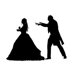 Vampire attack young lady silhouette vector