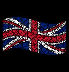 waving great britain flag mosaic of discount tag vector image