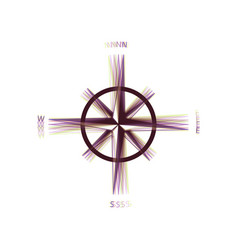 wind rose sign colorful icon shaked with vector image