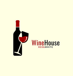wine logo with wine glass and bottle on white vector image