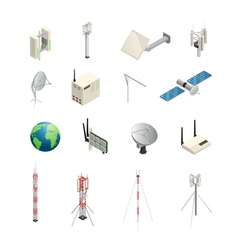 Wireless Communication Equipment Isometric Icons vector