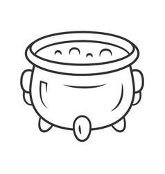 witch cauldron linear icon thin line brew potion vector image
