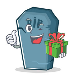 With gift tombstone character cartoon object vector