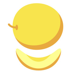 Yellow melon flat simple vector