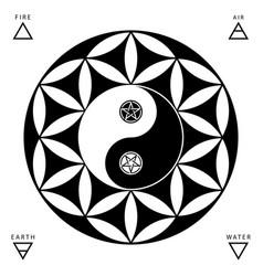 Yin yang oriental sacral symbols set isolated on vector