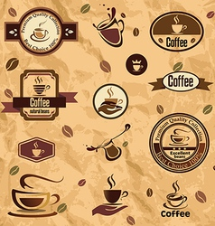 coffee label emblems collection vector image