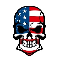 Danger skull with American flag pattern vector image vector image