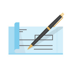 empty bank check and pen vector image