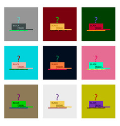 Flat assembly icons of open gift box black friday vector