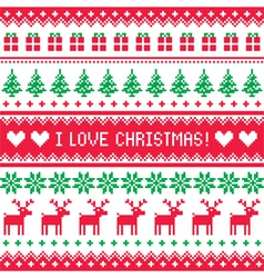 I love Christmas pattern - scandynavian sweater vector image vector image