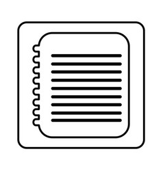 monochrome contour square with spiral notebook vector image vector image