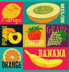 pop art grunge style fruit poster set of fruits vector image