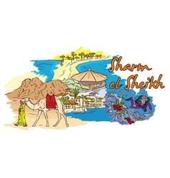 sharm el sheikh doodles vector image vector image