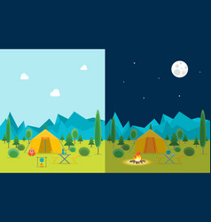cartoon camping day and night view vector image vector image