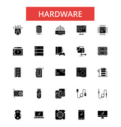 hardware thin line icons linear vector image vector image