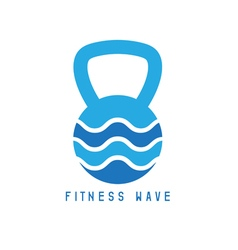 kettlebell and wave concept design template vector image