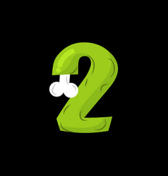 number 2 zombie monster font two bones and brains vector image