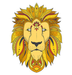 poster with zenart patterned lion vector image