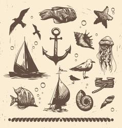 Vintage sea set vector image